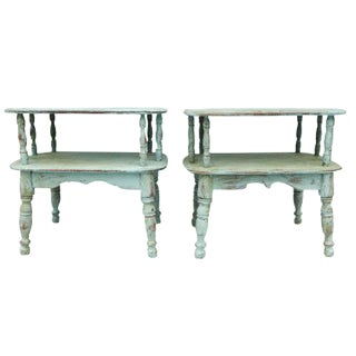 Duck Egg Green Cottage-Style Side Tables - A Pair