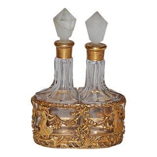 Glass Perfume Bottles in Gilt Metal Holder- A Pair