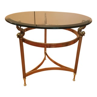 Round Solid Glass and Brass Side Table