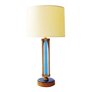 Pietro Chiesa for Fontana Arte Rare Table Lamp in Cut Blue Mirror and Cherry