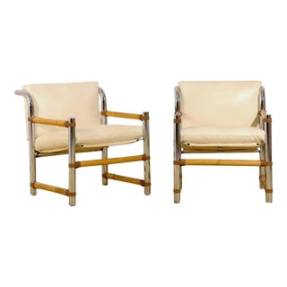 Fabulous Pair of Restored Vintage Chrome and Bamboo Loungers