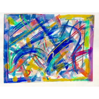 Abstract in Blue, Yellow and Pink