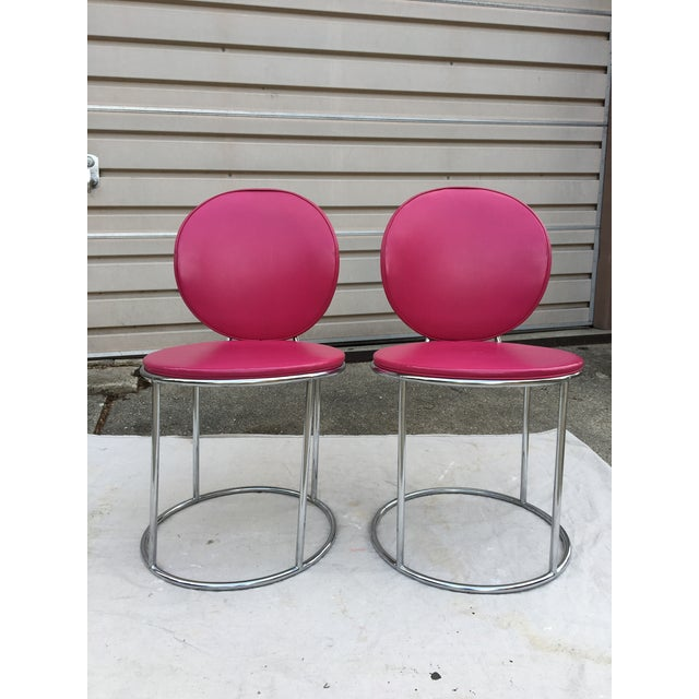 Mid Century Pink Vinyl Accent Chairs - a Pair - Image 2 of 6