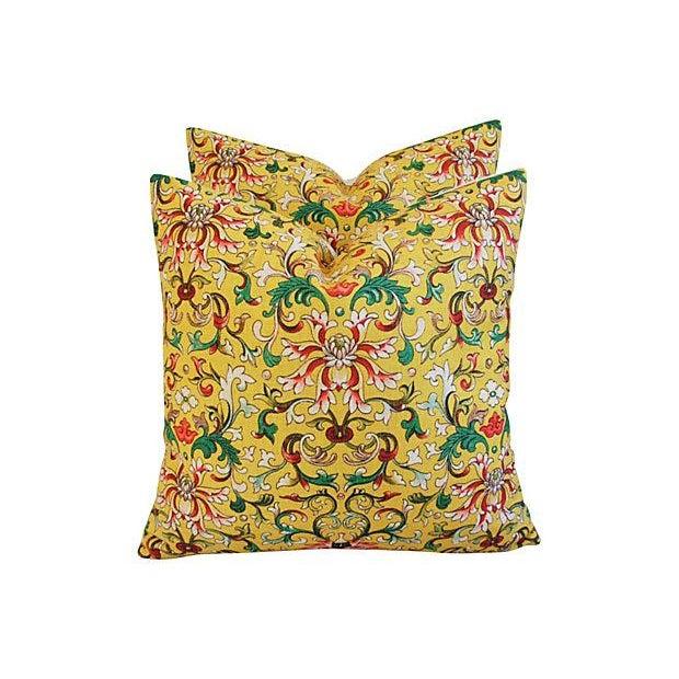 Custom Asian Yellow Floral Linen Pillows - A Pair - Image 4 of 7
