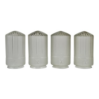 Mid Century Frosted Etched Glass Bullet Style Light Shades - Set of 4