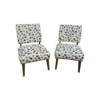 Mid-Century Polka Dot Slipper Chairs - a Pair