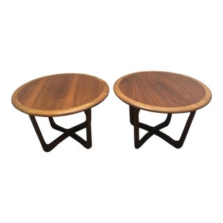 Pair of Lane Oak & Teak Mid-Century Vintage End Tables