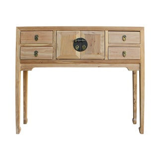 Chinese Distressed Natural Wood Foyer Side Table