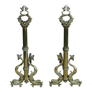 1940s Brass Mythical Sea Creature Andirons - A Pair