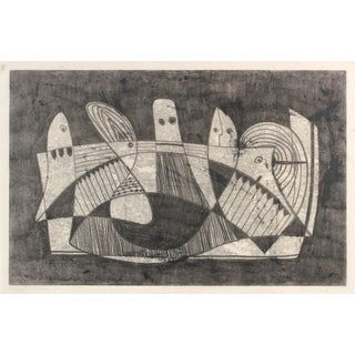 Cubist Figures Monotype by Jane Mitchell