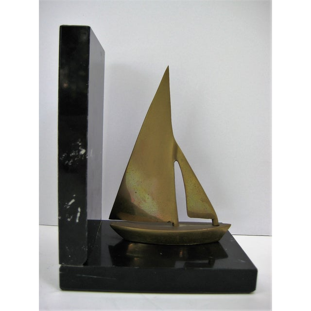 Mid-Century Brass Sailboat Bookends - Pair - Image 3 of 9