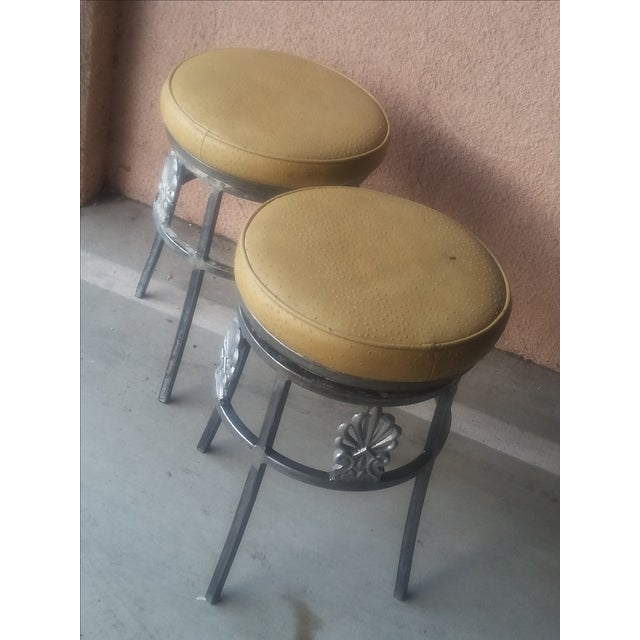 Hollywood Regency Ostrich Leather Bar Stools Pair Chairish