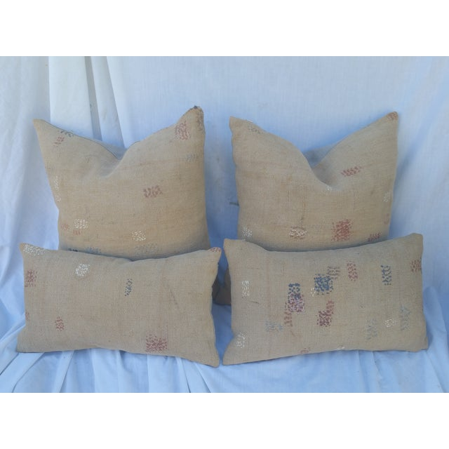 Image of Antique Darned Repaired Grain Sack Pillows