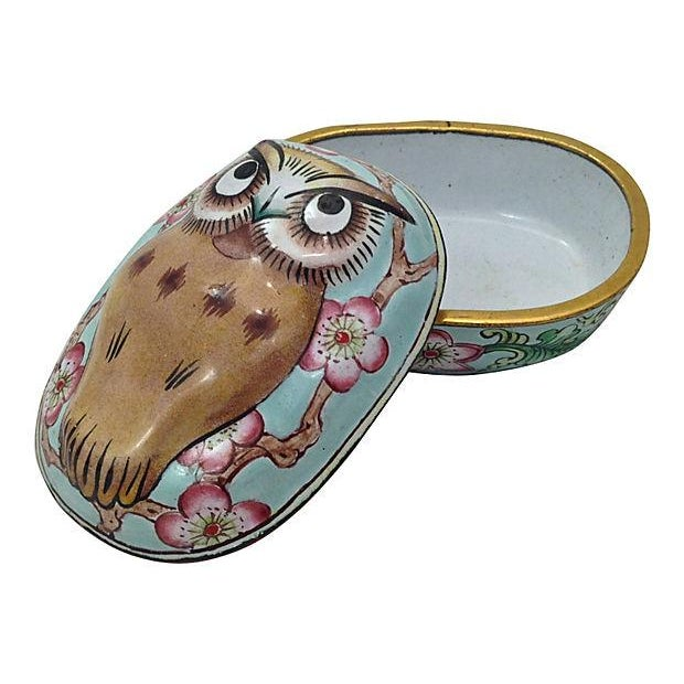 Cantonese Hand-Painted Enamel Owl Box - Image 6 of 7