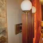 Image of Mid Century Modernist Sconces in Wood and Brass