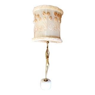 Art Deco Brass & Alabaster Table Lamp