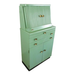 Antique Mint Green Paidar Roll Top Apothecary Cabinet