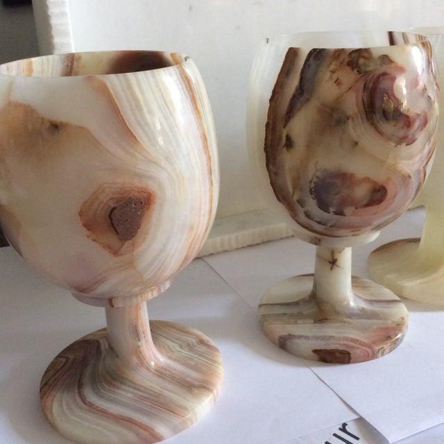 Image of Carved Onyx Wine Glass Goblets - Set of 6