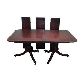 Mahogany Duncan Phyfe Banded Top Dining Table