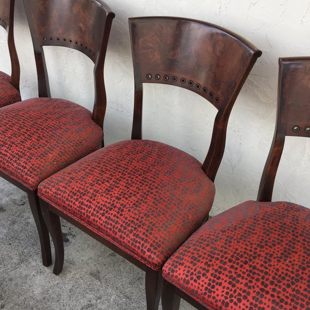 Italian Red Upholstered Wood Dining Chairs- Set of 6 - Image 9 of 10