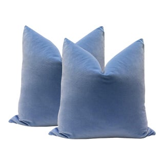 "22"" Periwinkle Blue Velvet Pillows - A Pair"