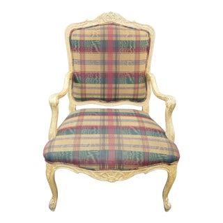 Vintage French Country Plaid Burgundy Accent Chair Off White Crackle Finish