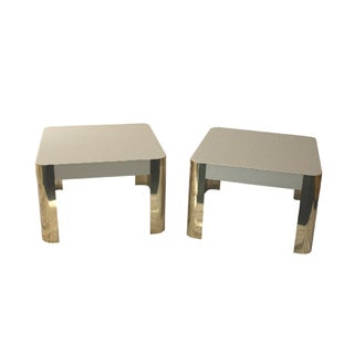 Cream & Brass Lacquer Tables - A Pair