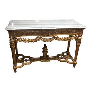 Gilded Wood & Marble Rococo Console Table