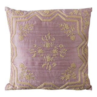 Pink Handwoven Silk Embroidered Accent Pillow