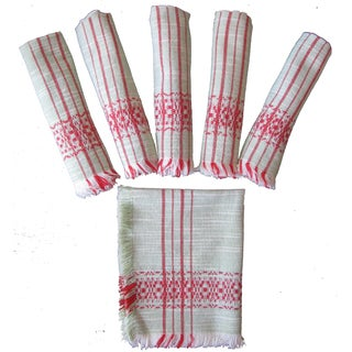Vintage Green & Red Woven Napkins - Set of 6