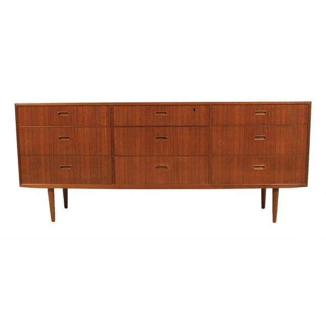 Image of Falster Danish Modern Nine-Drawer Teak Dresser