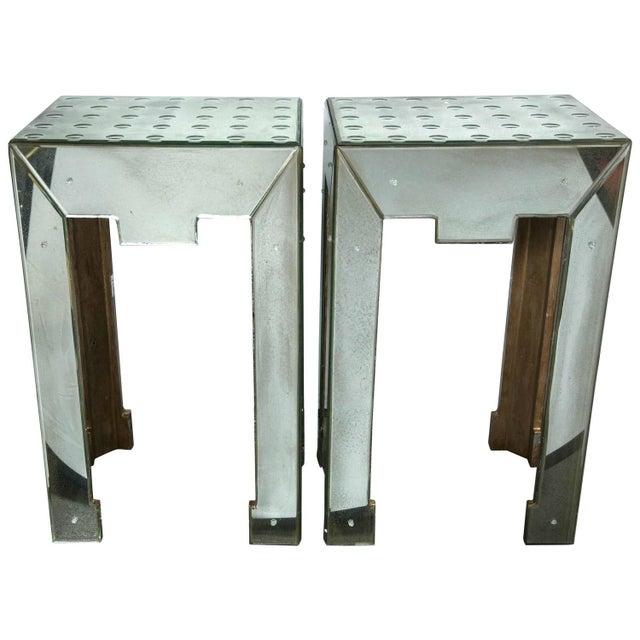 Mirrored Bullseye Art Deco Side Tables - Pair - Image 1 of 5