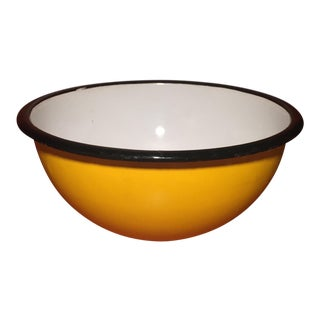 Mid-Century Modern Yellow Enameled Metal Bowl