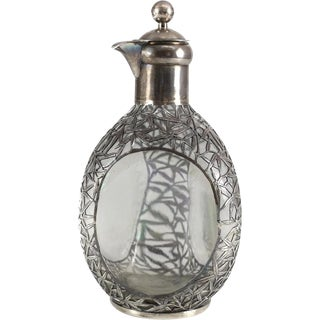 Chinese Silver Overlay Glass 3 Sided Decanter