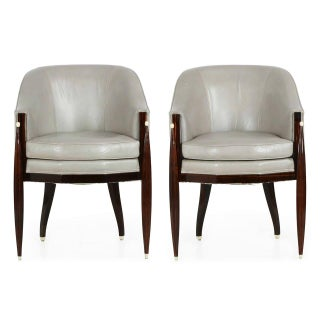 20th Century Vintage Art Deco Style Macassar & Leather Lounge Chairs - a Pair