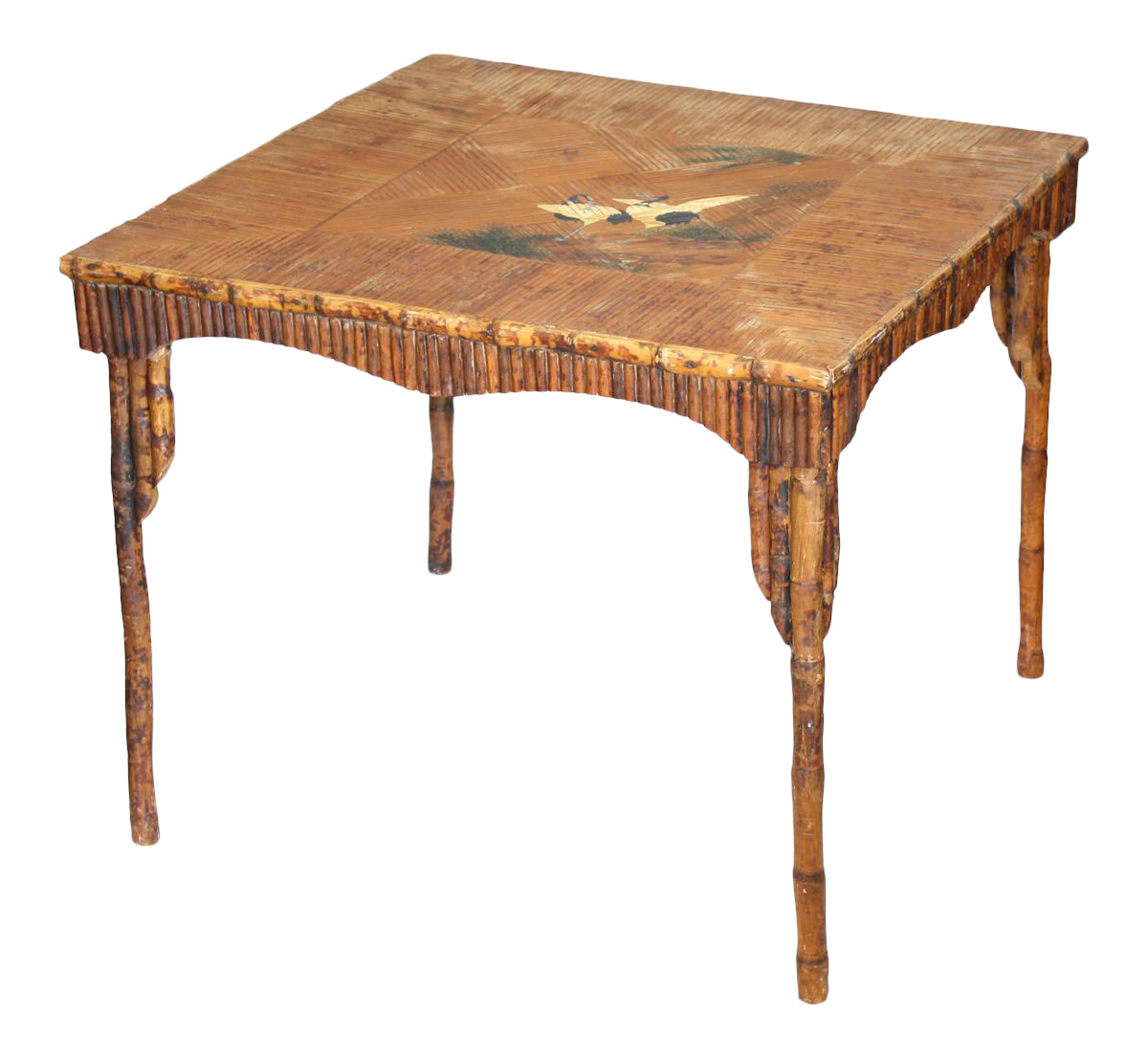 Vintage Bamboo Table With Japanese Crane Scene