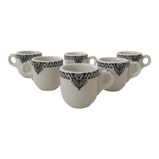 Vintage Art Deco Ceramic Esspreso Cups - Set of 6