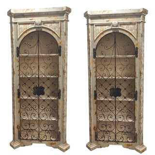 Custom Hand Painted Distressed Cabinets- A Pair