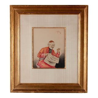 C. 1900 Cardinal Reading by E. Heller Watercolor