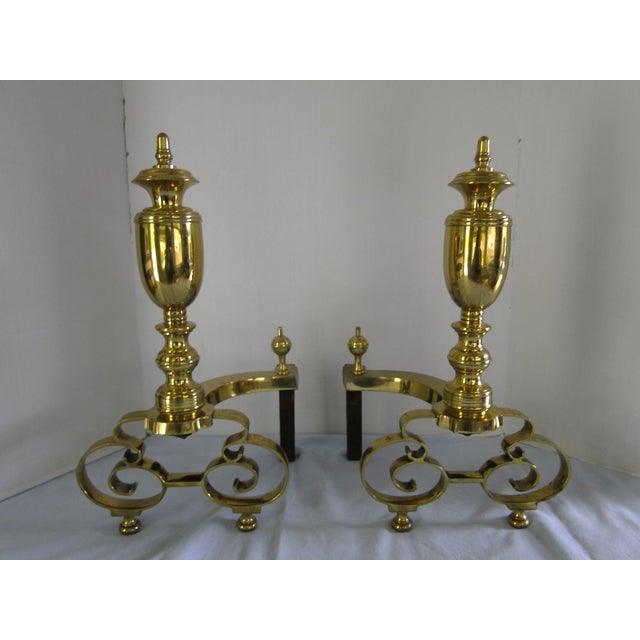 Antique 1908 W.H. Jackson Brass Andirons - A Pair - Image 2 of 8