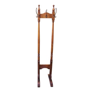 Traditional Wood & Brass Coat Rack