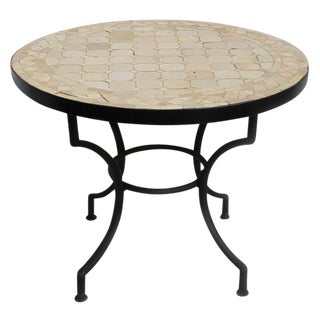 Round Mosaic Tile Side Table