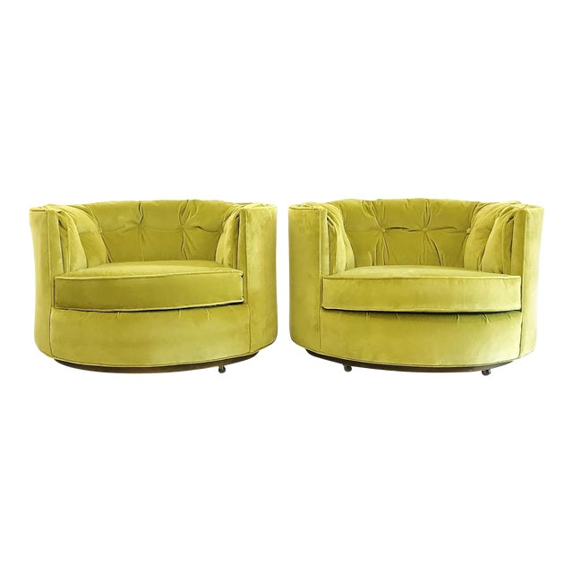 Vintage Chartreuse Velvet Club Chairs - a Pair - Image 1 of 5