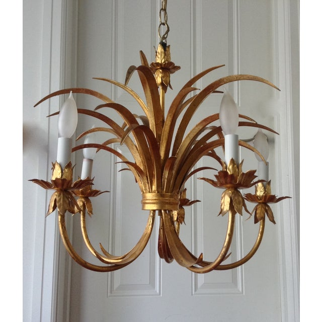 Hollywood Regency Gilt Tole Chandelier - Image 2 of 7