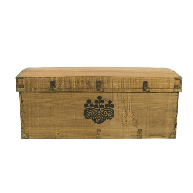 Monumental Early 20th Century Japanese Wood Trunk - Image 1 of 3