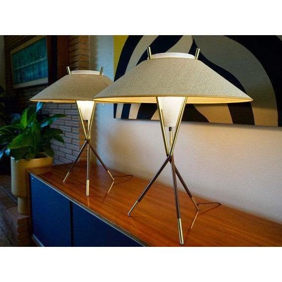 Gerald Thurston Lightolier Tripod Lamps - A Pair - Image 2 of 6