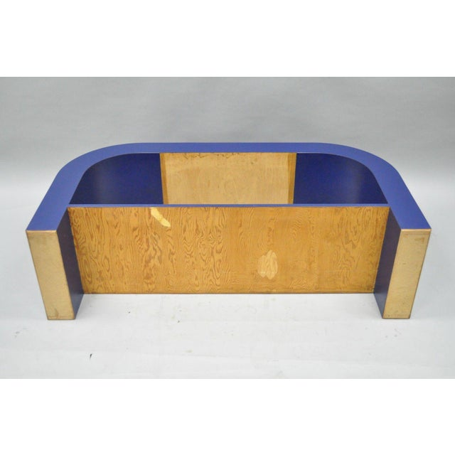 Mid Century Post Modern Blue Laminate Curved Waterfall Console - Image 10 of 11