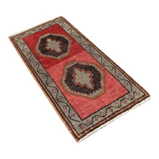 Mid-20th C. Vintage Antique Tribal Oushak Hand Knotted Turkish Rug - 1'5 X 3'1