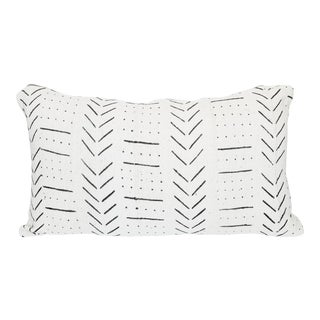 Black and White African Mud Cloth Lumbar Pillow