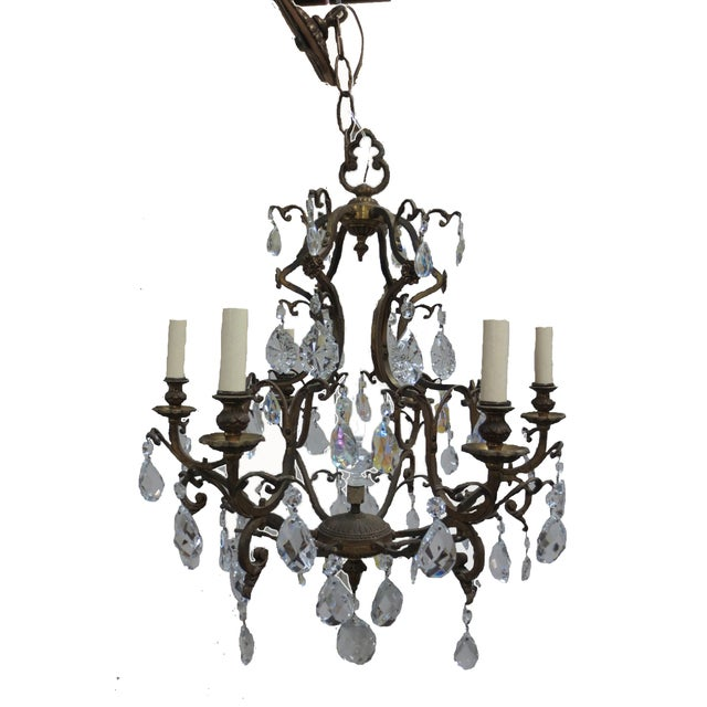 Antique French Gilt Bronze & Crystal Chandelier - Image 1 of 7